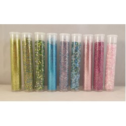 Fine Glitter and Seed Bee'd Green, Blue, Pink