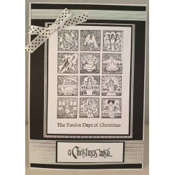 12 Days of Christmas Mini Cling Rubber Stamp Set