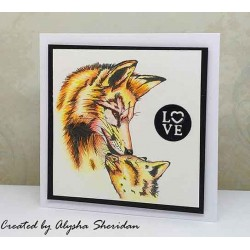 Foxy Mama cling mounted Rubber Stamp