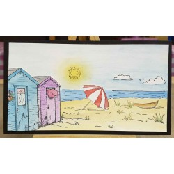 Beach Hut Scene Rubber Stamp