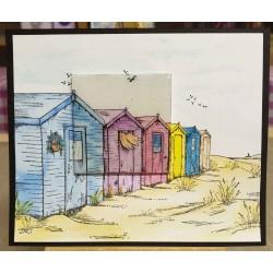 Beach Hut Scene Cling Rubber Stamp