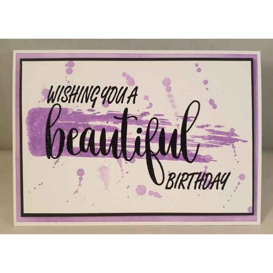Beautiful Birthday Rubber Stamp