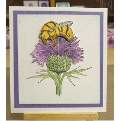 Bee on Thistle Rubber Stamp