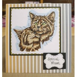 Nuzzling Cats Rubber Stamp