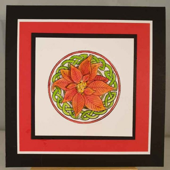 Celtic Knot Poinsettia Rubber Stamp