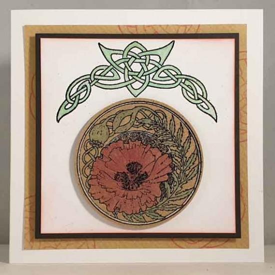 Celtic Knot Poppy Rubber Stamp