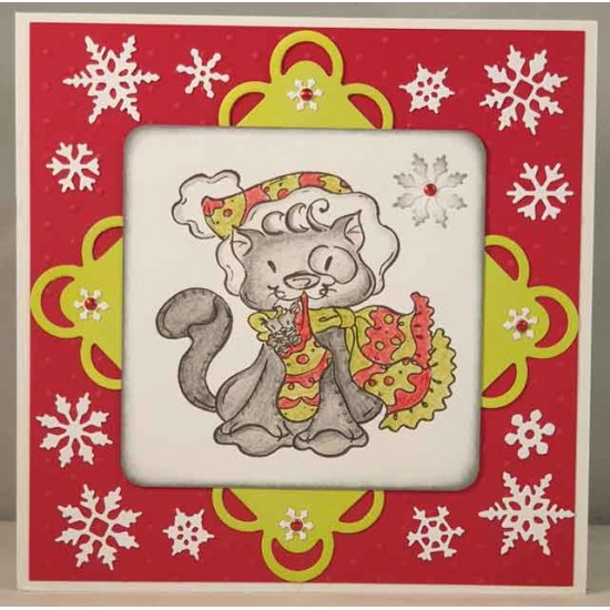 Christmas Kitty Rubber Stamp