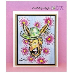 Elvis the Donkey Cling Rubber Stamp