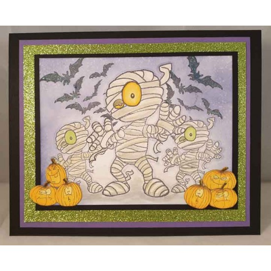 Halloween and Mummy cling rubber Stamp Set