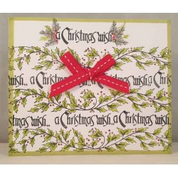 Holly Border Cling Rubber Stamp