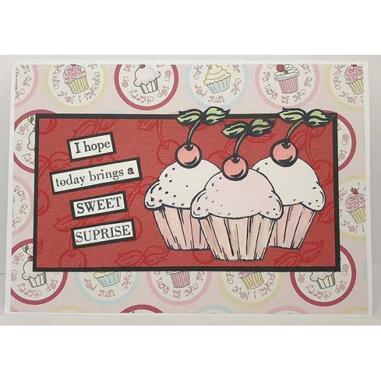 Mini Cupcake & Toppings Cling Rubber Stamp Set