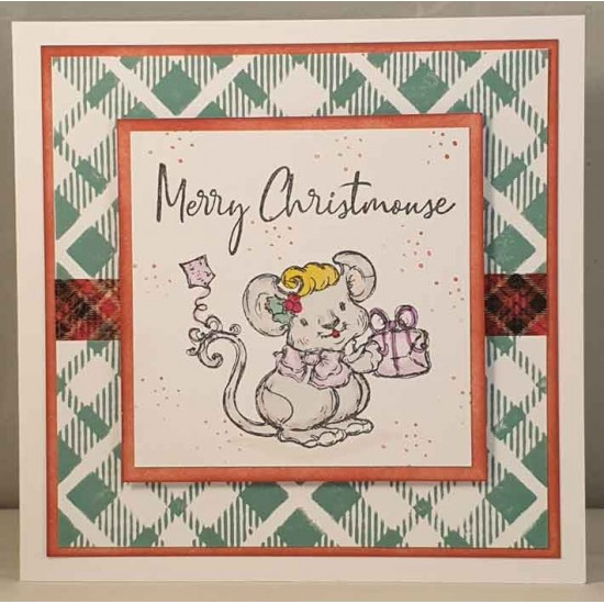 Plaid Background Cling Mounted Rubber Stamp