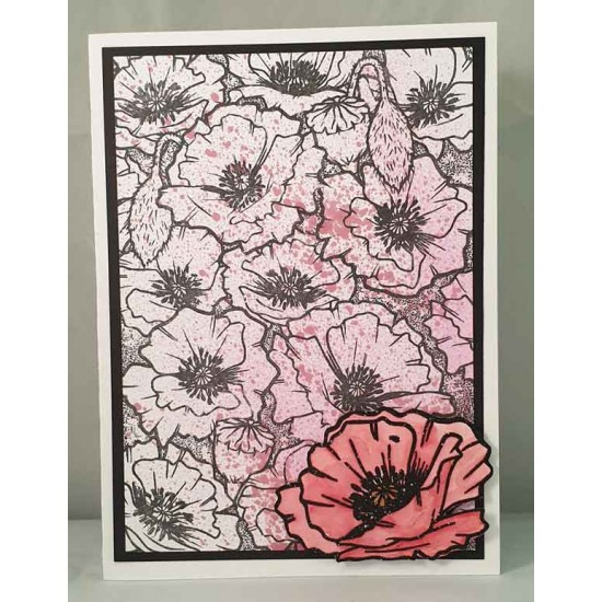 Poppy Background unmounted rubber stamp