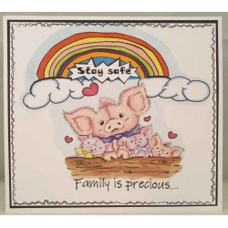 Family is precious Cling mounted Rubber Stamp