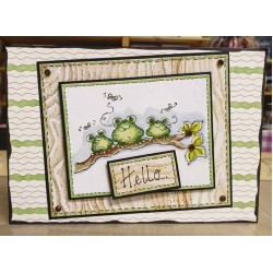 Frogs on a Branch Cling mounted Rubber Stamp