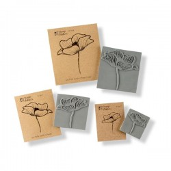 3 Poppies Cling Rubber Stamp Set
