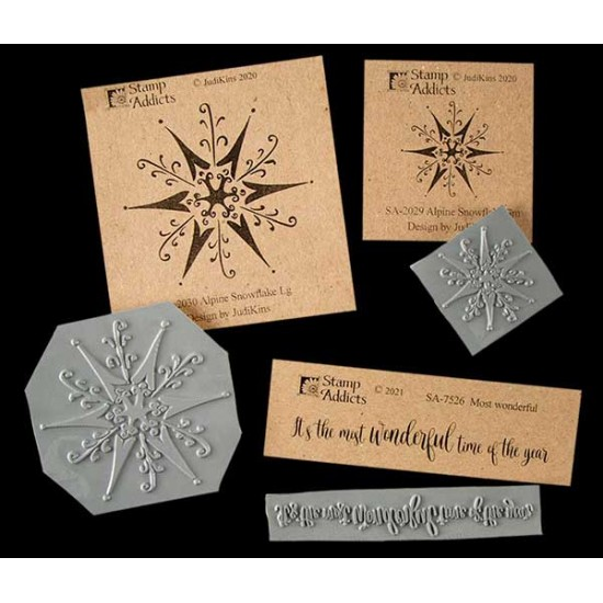 Alpine Snowflake Set of 3 Cling Rubber Stamps