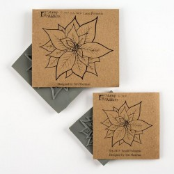 Poinsettia Set of 2 Cling Mounted Rubber Stamps