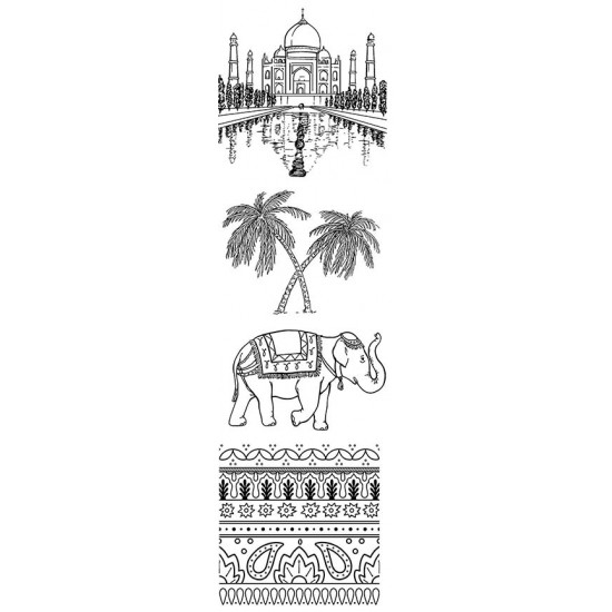 Travels in India Cling Rubber Stamp Set