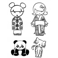 Kokeshi Dolls and Pets Cling Rubber Stamp Set