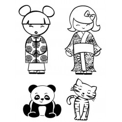 JudiKins Kokeshi Dolls and Pets Cling Rubber Stamp Set