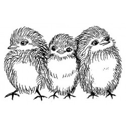Fluffy Chicks Cling Rubber Stamp