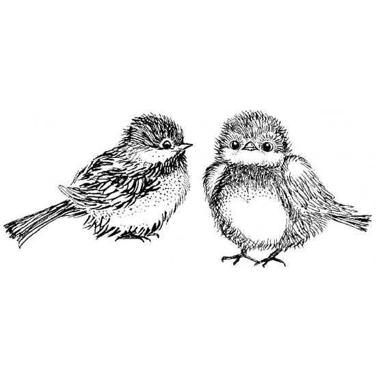 Fluffy Birds Cling Rubber Stamp