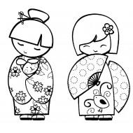 Large Kokeshi Dolls Cling Rubber Stamp Set