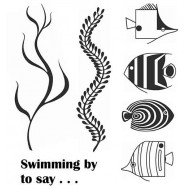Funky Fish and Seaweed Cling Rubber Stamp