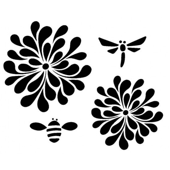 Mod Blooms and Bugs Cling Rubber Stamp Set