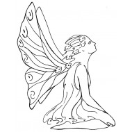 Kneeling Fairy Cling Rubber Stamp by JudiKins