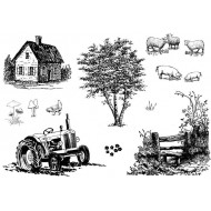 Rural Scenery Rubber Stamp Set