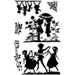 Playful Girls Silhouette Rubber Stamp Set