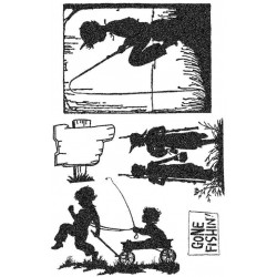 Gone Fishin' Silhouette Rubber Stamp Set