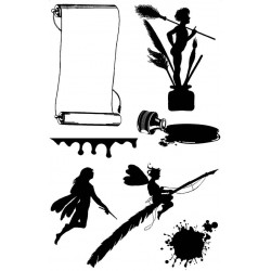 Inky Fairies Silhouette Rubber Stamp Set
