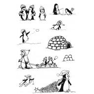 Playful Penguins Rubber Stamp Set