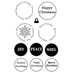 Christmas Sentiment Circles Rubber Stamp Set