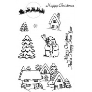 Snowy Village Rubber Stamp Set