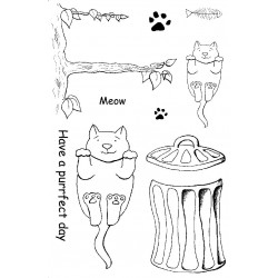 Purrfect Day Cats Rubber Stamp Set