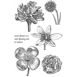 Engraved Flowers Rubber Stamp Set