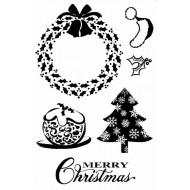 Holly Christmas Rubber Stamp Set