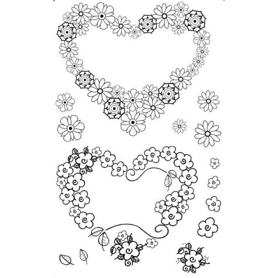Floral Hearts Rubber Stamp Set