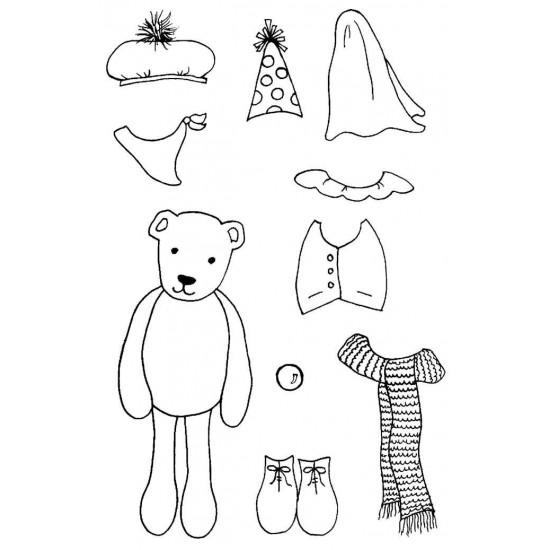All Dressed Up Bear Rubber Stamp Set