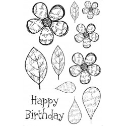 Scriptilicious Blooms Cling Rubber Stamp Set