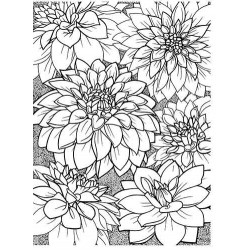 Dahlia Background unmounted rubber stamp