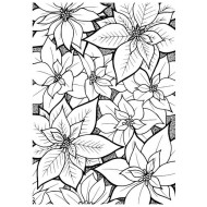 Poinsettia Background Rubber Stamp