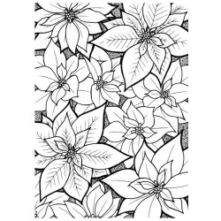 Poinsettia Background Cling Mounted Rubber Stamp