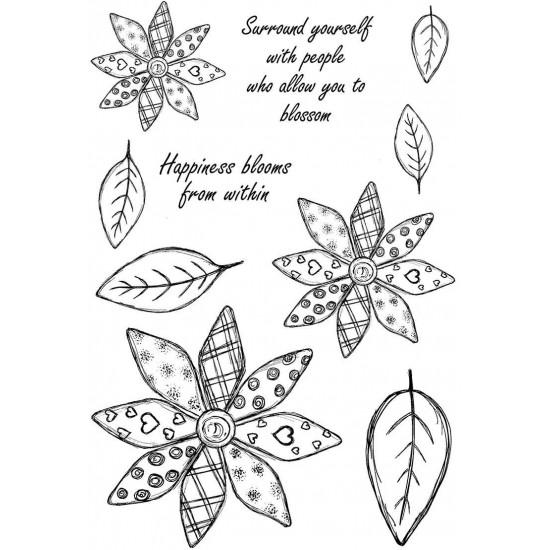 Petalwork Passion Cling mounted Rubber Stamp Set
