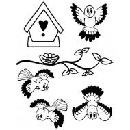 Cute Birds / Owls Rubber Stamp Set