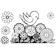 Bird with Flowers rubber stamp set